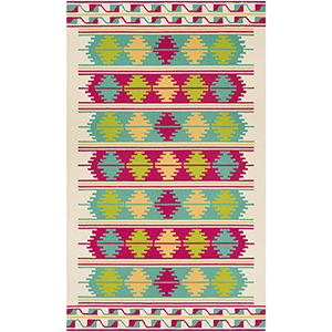 Rain Pink and Emerald Indoor/Outdoor Rectangular: 5 Ft. x 8 Ft. Rug