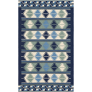 Rain Navy and Sky Blue Indoor/Outdoor Rectangular: 5 Ft. x 8 Ft. Rug
