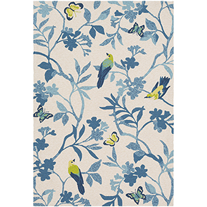 Rain Sky Blue and Yellow Indoor/Outdoor Rectangular: 5 Ft. x 8 Ft. Rug
