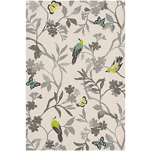 Rain Grey and Yellow Indoor/Outdoor Rectangular: 8 Ft. x 10 Ft. Rug
