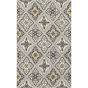Rain Grey and Mustard Indoor/Outdoor Rectangular: 5 Ft. x 8 Ft. Rug