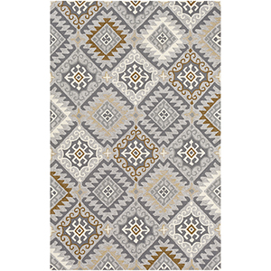 Rain Grey and Camel Indoor/Outdoor Rectangular: 8 Ft. x 10 Ft. Rug
