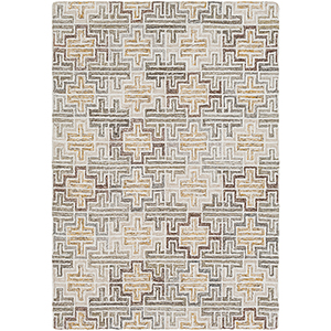 Robin Mustard and Taupe Rectangular: 5 Ft. x 7 Ft. 6 In. Rug