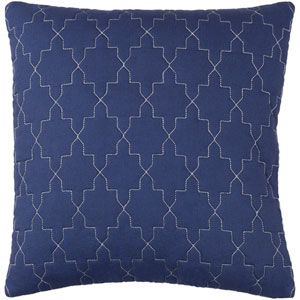 Reda Navy and Silver 18 x 18-Inch Pillow Cover
