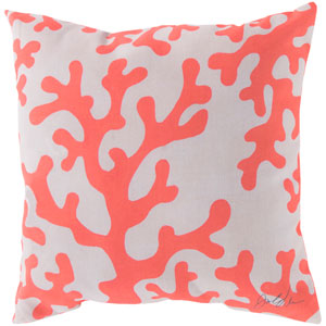 Charming Coral and Beige 20-Inch Pillow with Poly Fill