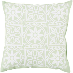 Multi Tile Moroccan Mint and Ivory 20-Inch Pillow with Poly Fill