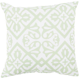 Modern Moroccan Mint and Ivory 20-Inch Pillow with Poly Fill