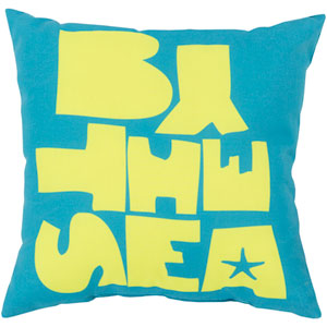 Be By the Sea Aqua and Lime 26-Inch Pillow with Poly Fill