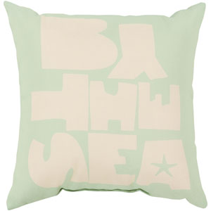 Be By the Sea Mint and Ivory 26-Inch Pillow with Poly Fill