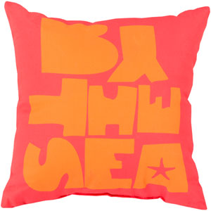 Be By the Sea Coral 26-Inch Pillow with Poly Fill