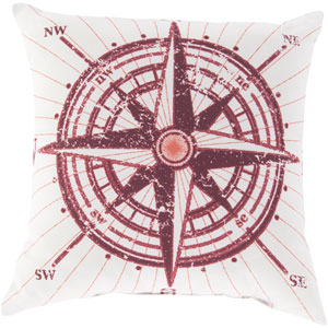 Charismatic Compass Poppy and Ivory 26-Inch Pillow with Poly Fill