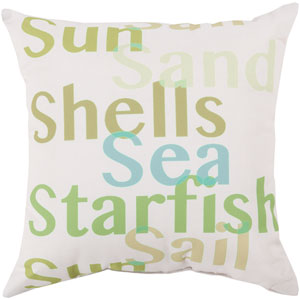 Striking Sea Filled Sea Foam and Lime 26-Inch Pillow with Poly Fill