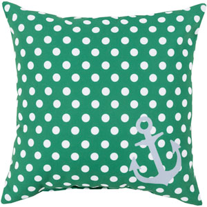 Anchored in Polka Dots Emerald and Ivory 26-Inch Pillow with Poly Fill