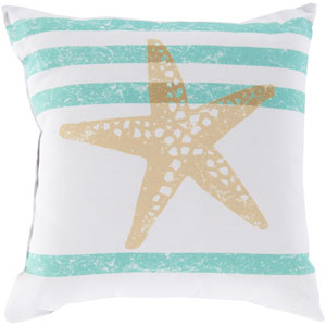 Stripes and Starfish Light Gray and Lime 26-Inch Pillow with Poly Fill