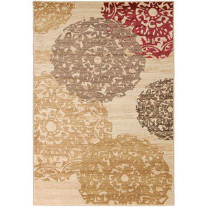 Riley Butter and Beige Rectangular: 5 Ft 3 In x 7 Ft 6 In Rug