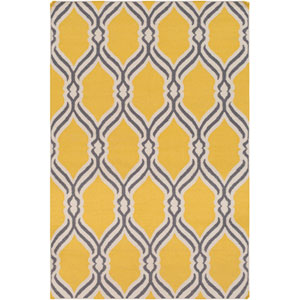 Rivington Bright Yellow and Gray Rectangular: 4 Ft. x 6 Ft. Rug
