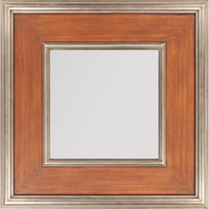 Brown and Silver Square Mirror