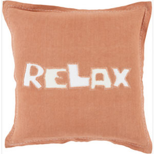 Just Relax Rust and Ivory 22-Inch Pillow with Poly Fill