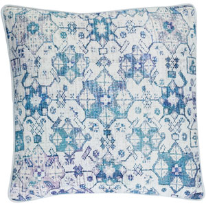 Roxana Blue 20-Inch Pillow with Down Fill