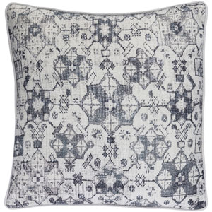 Roxana Gray and Blue 18-Inch Pillow with Poly Fill