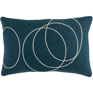Solid Bold Dark Blue and Cream 13 x 19 In. Throw Pillow