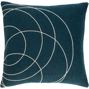 Solid Bold Blue and Neutral 20-Inch Pillow with Poly Fill