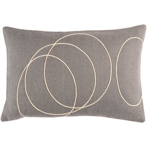 Solid Bold Medium Gray and Cream 13 x 19 In. Throw Pillow