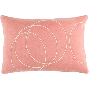 Solid Bold Mauve and Cream 13 x 19 In. Throw Pillow