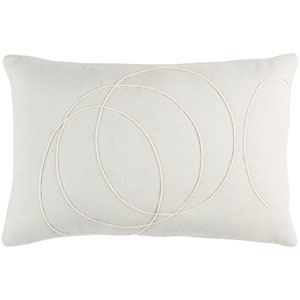 Solid Bold Light Gray and Cream 13 x 19 In. Throw Pillow