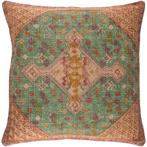 Shadi Neutral and Orange 18-Inch Pillow with Poly Fill