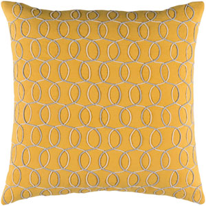 Solid Bold II Yellow and Gray 22-Inch Pillow Cover