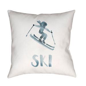 Ski II Gray and White 18 x 18-Inch Throw Pillow