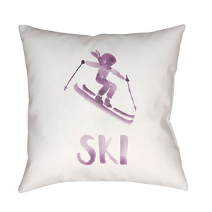 Ski II Purple and White 18 x 18-Inch Throw Pillow