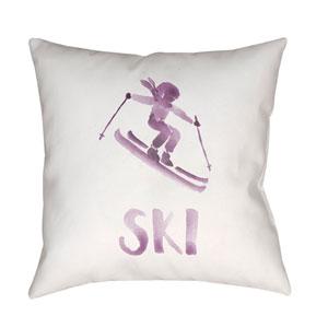 Ski II Purple and White 20 x 20-Inch Throw Pillow
