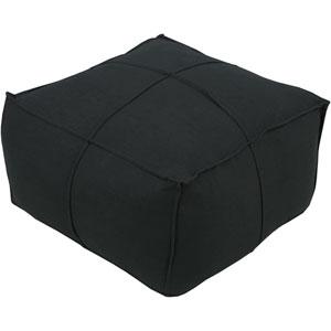 Black Solid Linen Cube Pouf