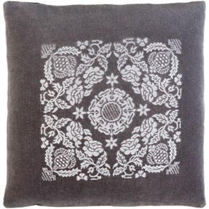 Smithsonian Charcoal and Light Gray 18 x 18-Inch Pillow Cover