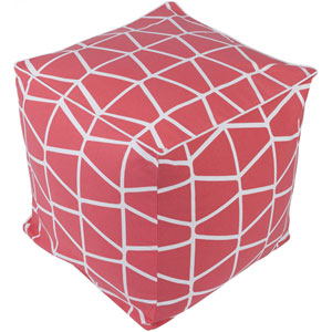 Somerset Coral and White Pouf