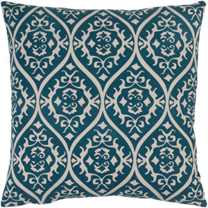 Somerset Teal and Light Gray 20-Inch Pillow with Poly Fill