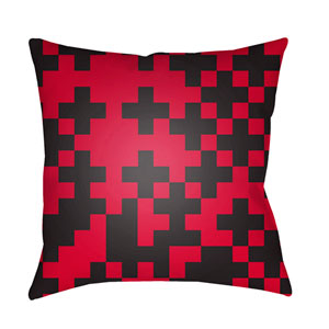 Scandinavian Black and Bright Red 22 x 22-Inch Pillow