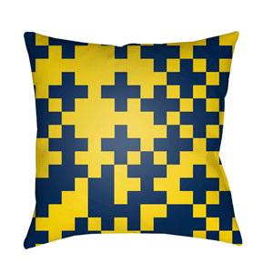 Scandinavian Bright Yellow and Dark Blue 20 x 20-Inch Pillow