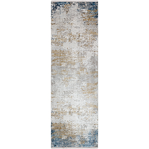 Solar Blue and Yellow Runner: 3 Ft. x 9 Ft. 10 In. Rug