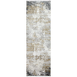 Solar Taupe and Yellow Runner: 3 Ft. x 9 Ft. 10 In. Rug