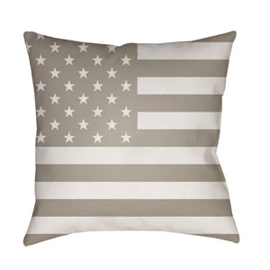 Americana Beige and White 18 x 18-Inch Throw Pillow