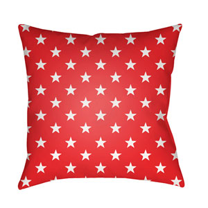 Americana II Red and White 18 x 18-Inch Throw Pillow