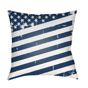 Americana III Blue and White 18 x 18-Inch Throw Pillow