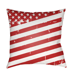 Americana III Red and White 18 x 18-Inch Throw Pillow