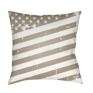 Americana III Beige and White 18 x 18-Inch Throw Pillow
