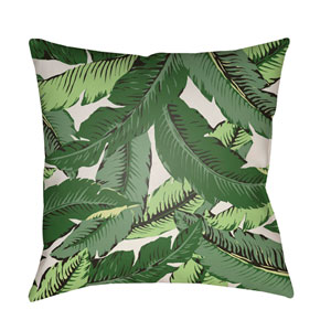 Banana Leaf Green and White 18 x 18-Inch Throw Pillow