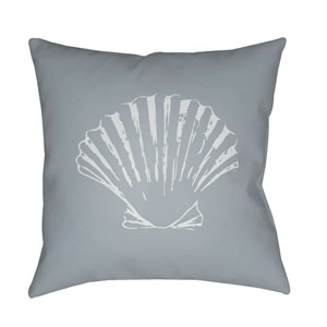 Shells II Gray and Blue 18 x 18-Inch Throw Pillow