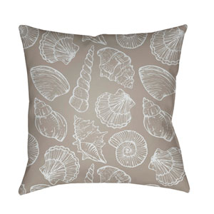 Shells III Beige and White 18 x 18-Inch Throw Pillow